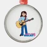 Girl Guitar Player Metal Ornament