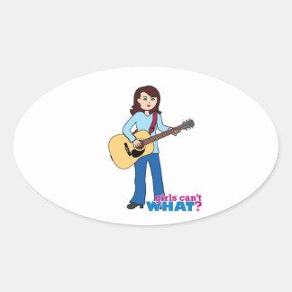 Girl Guitar Player Oval Sticker