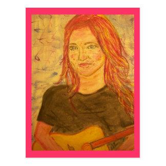 Girl & Guitar Postcard