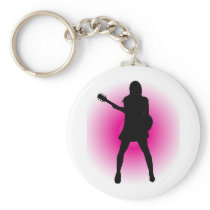 Girl Guitarist Keychain