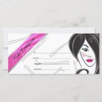 Girl hair salon gift certificate