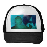 Girl hand up dolphins back grunged mesh hats