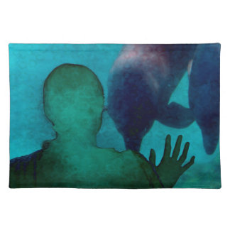 Girl hand up dolphins back grunged placemat