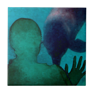 Girl hand up dolphins back grunged small square tile