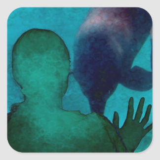 Girl hand up dolphins back grunged square sticker
