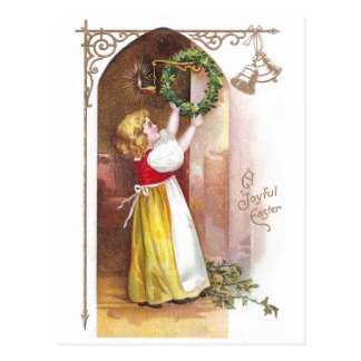 Girl Hanging Wreath Vintage Easter Postcard