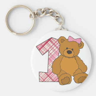 Girl Happy 1st Birthday Bear with 1 and Pink Bow Basic Round Button Keychain