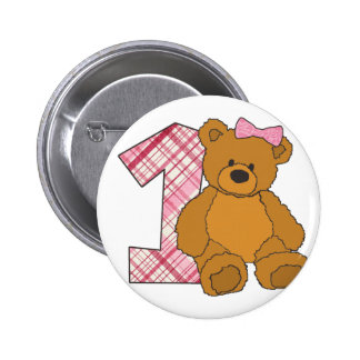 Girl Happy 1st Birthday Bear with 1 and Pink Bow Button