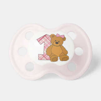 Girl Happy 1st Birthday Bear with 1 and Pink Bow Pacifier