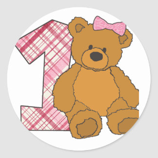 Girl Happy 1st Birthday Bear with 1 and Pink Bow Round Stickers