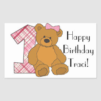 Girl Happy 1st Birthday Bear with 1 and Pink Bow Rectangle Stickers
