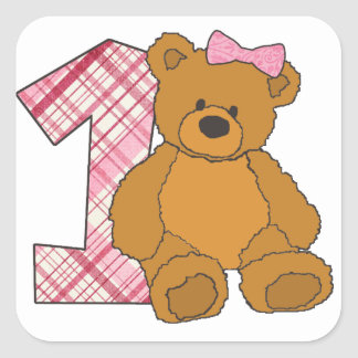Girl Happy 1st Birthday Bear with 1 and Pink Bow Square Sticker