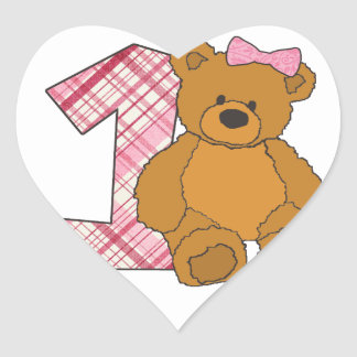 Girl Happy 1st Birthday Bear with 1 and Pink Bow Heart Sticker