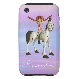 Girl & Happy Horse Personalized iPhone 3/3GS iPhone 3 Tough Cases