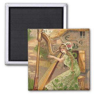Girl Harp Rose Shamrock Erin Go Braugh 2 Inch Square Magnet
