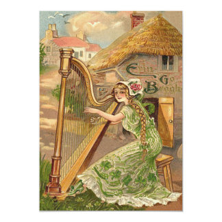 Girl Harp Rose Shamrock Erin Go Braugh Card
