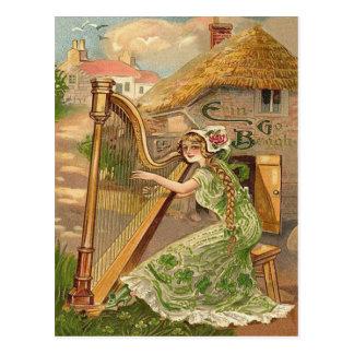 Girl Harp Rose Shamrock Erin Go Braugh Postcard