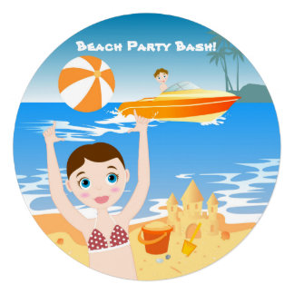 Girl having fun at the beach invitation