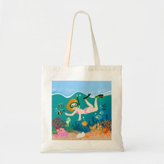 Girl having fun diving and swimming budget tote bag