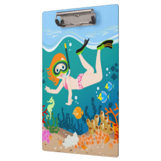 Girl having fun diving and swimming clipboards