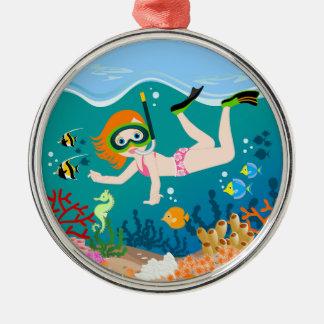 Girl having fun diving and swimming metal ornament