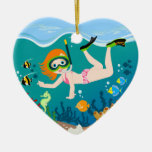 Girl having fun diving and swimming Double-Sided heart ceramic christmas ornament