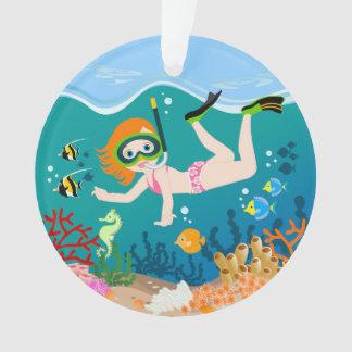 Girl having fun diving and swimming ornament