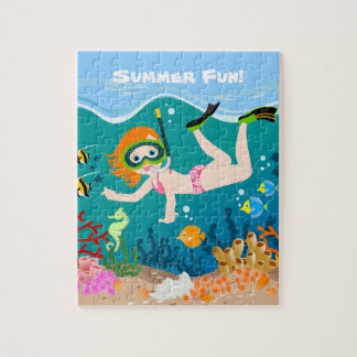 Girl having fun diving and swimming puzzle