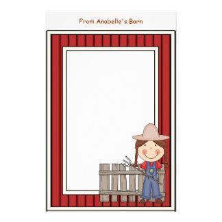 Girl & Hay Fork Barn Red Frame Kids Writing Paper