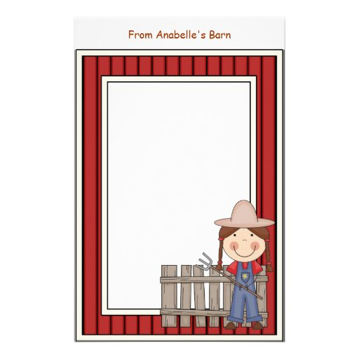 Girl & Hay Fork Barn Red Frame Kids Writing Paper Stationery Paper