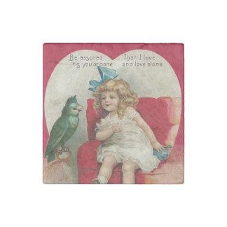 Girl Heart Bird Cage Valentine Stone Magnet