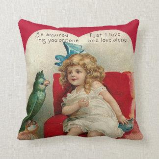 Girl Heart Bird Cage Valentine Throw Pillow