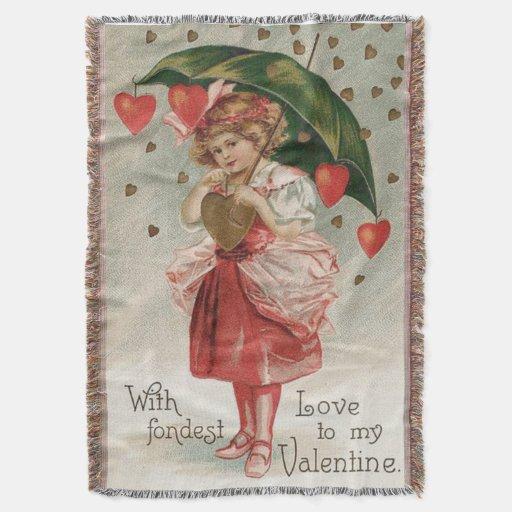 Girl Heart Umbrella Rain Shower Throw Blanket