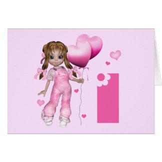 Girl Hearts 1st Birthday Greeting Card