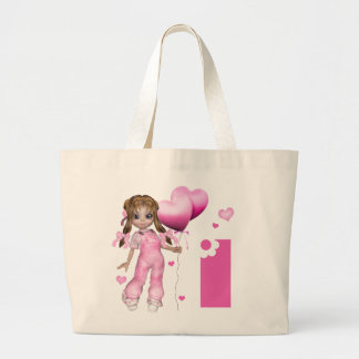 Girl Hearts 1st Birthday Large Tote Bag