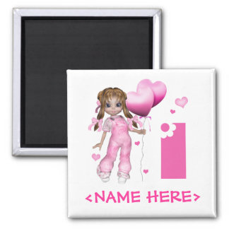 Girl Hearts 1st Birthday Magnet