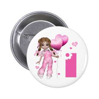 Girl Hearts 1st Birthday Pinback Button