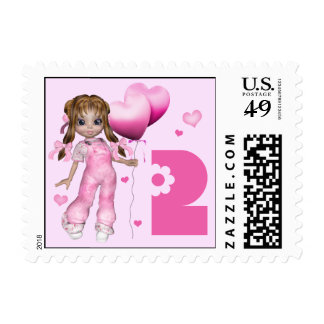 Girl Hearts 2nd Birthday Postage Stamps