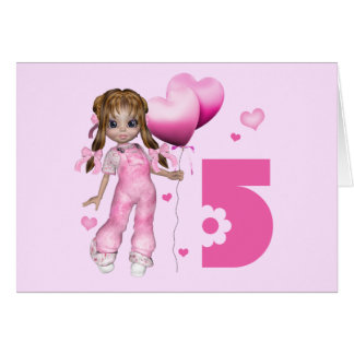 Girl Hearts 5th Birthday Card