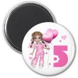 Girl Hearts 5th Birthday Magnet