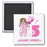 Girl Hearts 5th Birthday Refrigerator Magnet