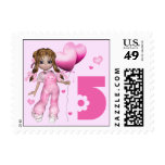 Girl Hearts 5th Birthday Stamps