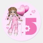 Girl Hearts 5th Birthday Stickers