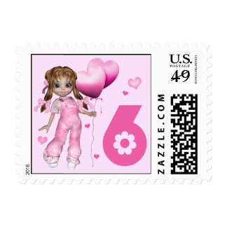 Girl Hearts 6th Birthday Postage Stamps
