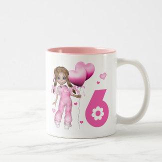 Girl Hearts 6th Birthday Two-Tone Coffee Mug