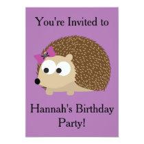 Girl Hedgehog Party Invitation