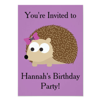 Girl Hedgehog Party Invitation