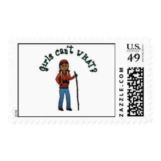 Girl Hiker Postage Stamps