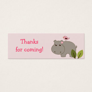 Girl Hippo Birthday baby Shower Favor Gift Tags