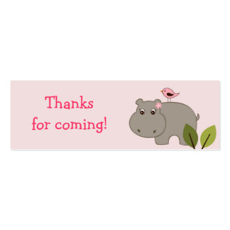 Girl Hippo Birthday baby Shower Favor Gift Tags Double-Sided Mini Business Cards (Pack Of 20)